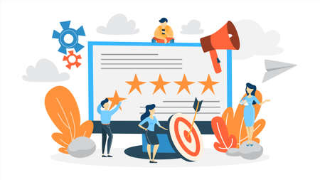 Reputation management concept. Building relationship with people and improving customer loyalty. Idea of online rating and feedback. Flat vector illustration
