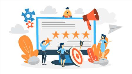 Reputationsmanagement-Konzept. Aufbau einer Beziehung zu Menschen und Verbesserung der Kundenbindung. Idee der Online-Bewertung und des Feedbacks. Flache Vektorillustration Vektorgrafik