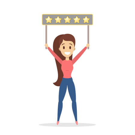 Woman holding banner with five stars on it. Rate the product quality. Idea of feedback and review. Isolated flat vector illustration