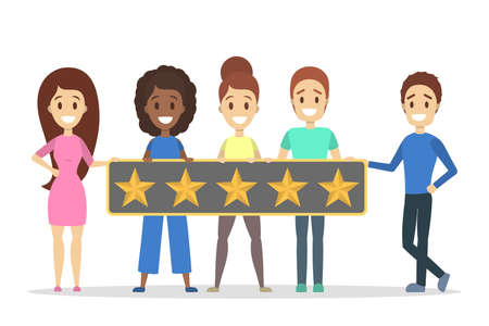 People holding huge banner with five stars on it. Rate the product quality. Idea of feedback and review. Isolated flat vector illustration