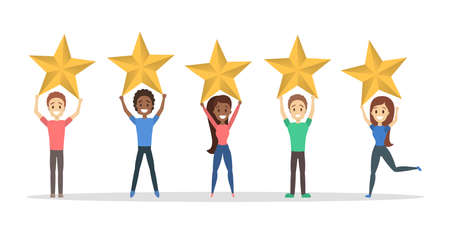 Happy satisfied people holding 5 huge golden stars. Rate the product quality. Idea of feedback and review. Isolated flat vector illustration Stock Illustratie