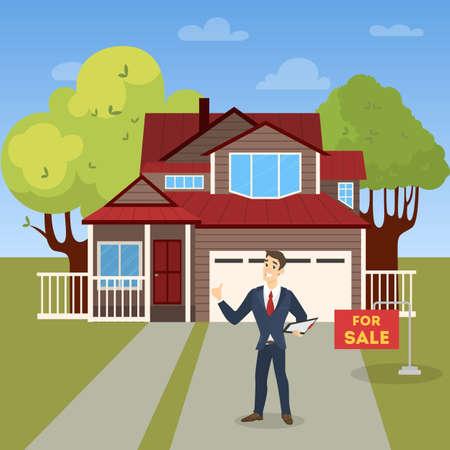 Real estate agent concept. House sale offering. Ilustração