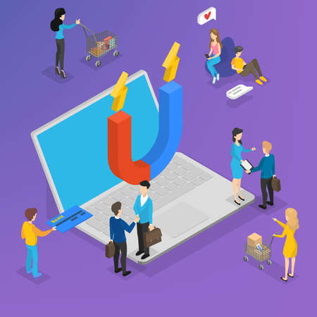 Big magnet on the laptop computer atrracting customer. Marketing strategy for customer retention and loyalty increase. Communication with client. Vector isometric illustration
