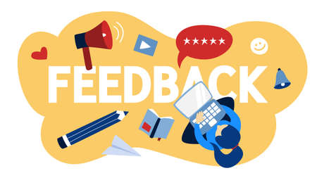 Feedback concept. Give opinion and comment content. Idea of customer review. Positive and negative rating. Woman rate product on laptop computer. Isolated vector flat illustration