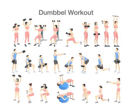 Satz Leute, die Übungen im Fitnessstudio machen. Fitness und gesunder Lebensstil. Training mit Hantel für verschiedene Muskelgruppen. Isolierte flache Vektorillustration Vektorgrafik