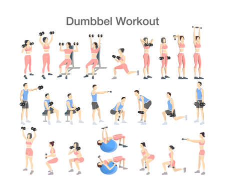 Set of people doing exercises in the gym. Fitness and healthy lifestyle. Workout with dumbbell for different groups of muscles. Isolated flat vector illustration Vetores
