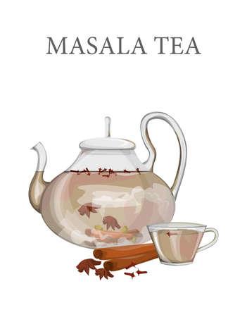 Indian masala tea in the glass teapot