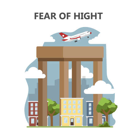 Fear of height or acrophobia. Airplane flying high 向量圖像