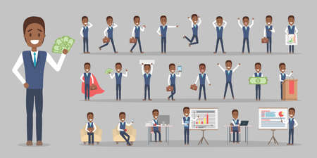 Set of african american businessman or office worker character in suit with various poses, face emotions and gestures. Working man in blue suit. Isolated flat vector illustration