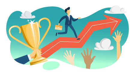 Personal potential concept. Idea of training and motivation, self improvement. Career growth. Man running on the arrow pointing up. Flat vector illustration Vettoriali
