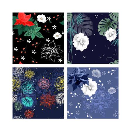 Conjunto de hermoso papel tapiz con adorno de flores