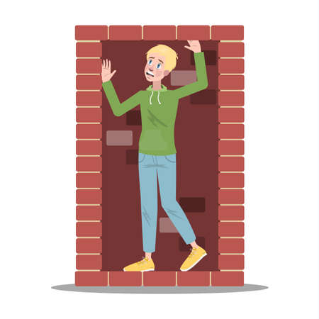 Scared man is locked in small closed place.