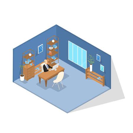 Director de escuela en traje sentado en su oficina y trabajando. Director en la mesa. Concepto de educación y conocimiento. Interior de oficina. Ilustración isométrica de vector aislado
