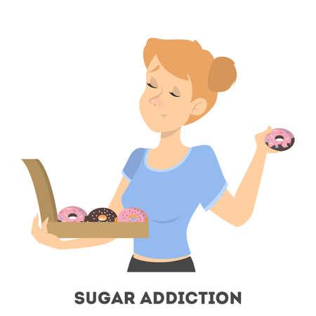 Jonge vrouw met suikerverslaving die chocolade donuts met room eet. Eetstoornis en ongezonde levensstijl. Geïsoleerde vectorillustratie in cartoon-stijl.