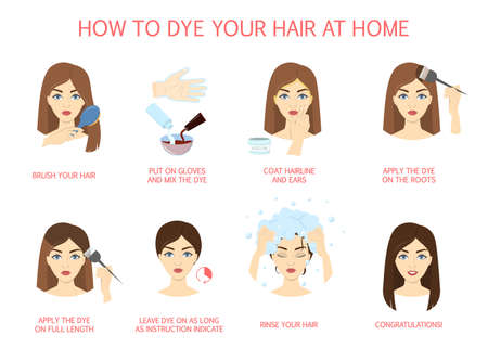 How to dye your hair at home guide. Step-by-step instruction for hair coloring process. Beauty procedure. Apply color creme on hair with brush. Isolated vector illustration