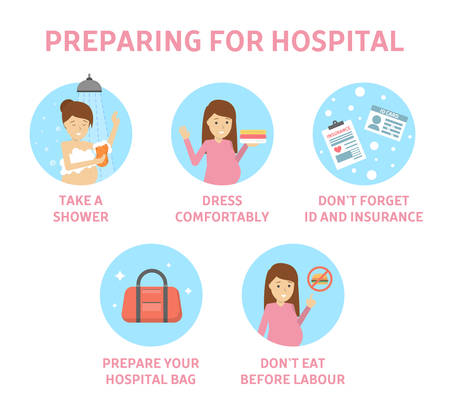Tips for expectant mother how to prepare for hospital. Guide for pregnant woman befor child birth. Preparation for baby delivery. Motherhood and healthcare. Isolated flat vector illustration Zdjęcie Seryjne - 108961200
