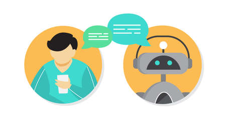 Man talking to a chatbot online on smartphone. Communication with a chat bot. Customer service and support. Artificial intelligence concept. Isolated vector flat illustration
