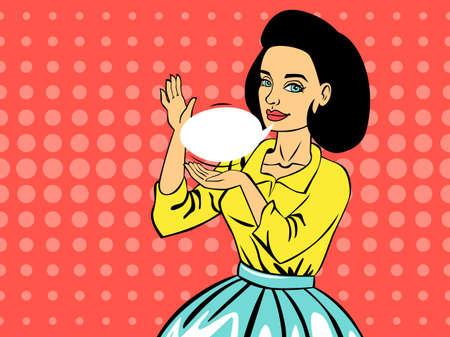 Pop art woman talking using speech bubble.