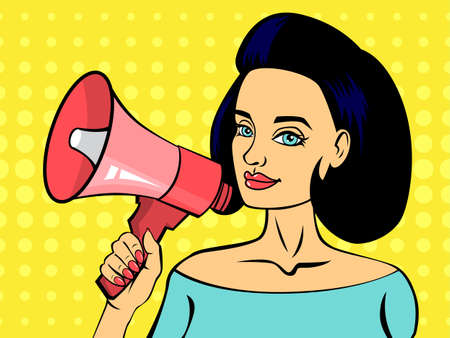 Pop art woman talking using red megaphone