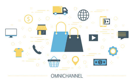 Omnichannel concept illustration. Online and offline retail