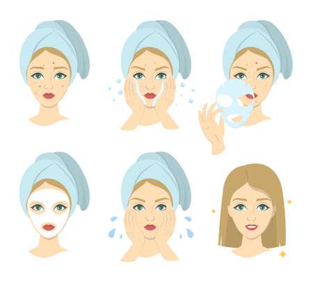 Comment appliquer l'instrustion de masque facial pour les femmes. Guide étape par étape de l'utilisation du masque crème pour le visage. Soins de la peau et traitement de l'acné. Beauté et santé. Illustration vectorielle isolé Vecteurs