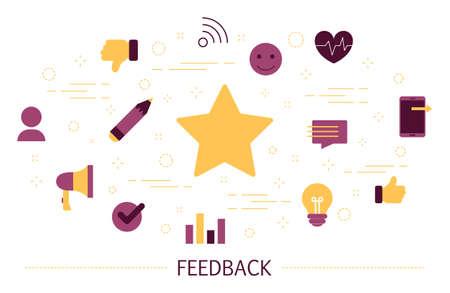 Feedback concept. Idee van een klantbeoordeling en recensie. Laat een reactie achter en schrijf je in. Productevaluatie. Reeks kleurrijke pictogrammen. Geïsoleerde platte vectorillustratie