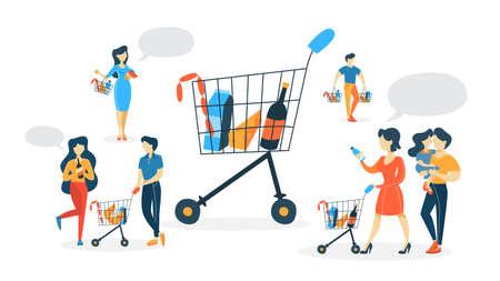 Ensemble de personnes faisant du shopping dans un supermarché avec des chariots en utilisant des fruits, des légumes et d'autres aliments. Famille à l'épicerie. Illustration vectorielle plane isolée Vecteurs