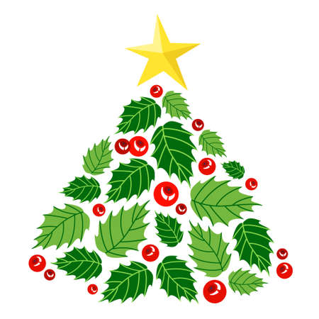 Cute christmas tree made of holly berry leaves and berries. Beautiful decoration for greeting card. Green tree with red berry. Isolated flat vector illustration