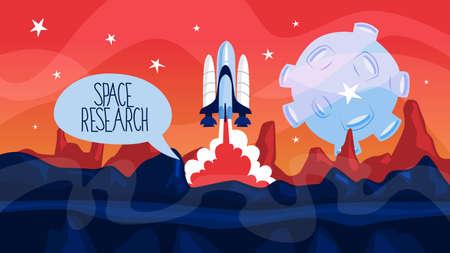 Lancement de fusée spatiale avec des planètes en arrière-plan. Idée de recherche et d'exploration spatiales. La construction prend son envol après le compte à rebours. Illustration vectorielle plane