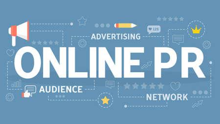 Online or digital PR and advertising in internet Ilustração