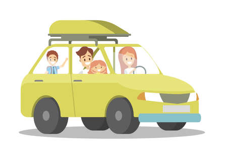 Happy family in the yellow car. People on a trip. Parents and children have an adventure riding in automobile. Flat vector illustration
