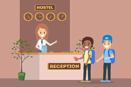 Children standing in queue at the hostel reception interior. Room reservation or booking. Young guest travel. Flat vector illustration