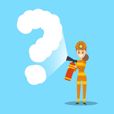Fireman in red uniform fighting fire with extinguisher. Emergency worker spraying a question mark. Flat vector illustration