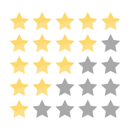 5 golden star in a row rating. Review and feedback. Stars in the row. Ranking product system. Isolated flat vector illustration Ilustração