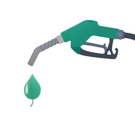 Green fuel pump with drop of ecology friendly oil. Bio fuel for automobile. Stop pollution concept. Isolated flat vector illustration