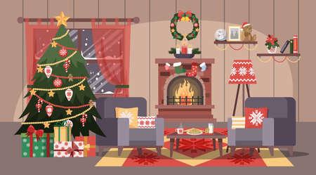 Weihnachtsgemütliches Zimmer mit Baum und Geschenkboxen. Vektorgrafik