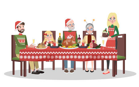 Happy family in cozy sweater sitting at the christmas table. Mother and father, child and grandparents have xmas dinner. Isolated flat vector illustration