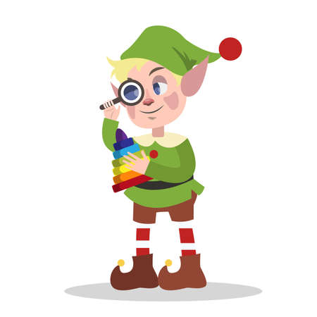 Cute christmas elf in green clothes making toy for xmas present. Checking pyramide. Holiday concept. Isolated flat vector illustration