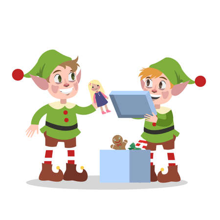 Cute christmas elf team in green clothes packing toy in box for xmas present. Checking pyramide. Holiday concept. Isolated flat vector illustration