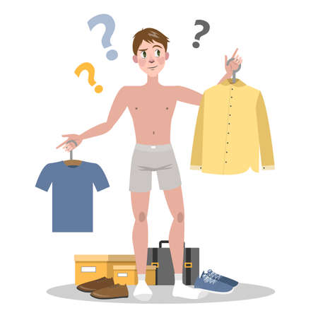 Young man choosing between two clothes set. Guy in doubt thinking what to wear today. Isolated flat vector illustration