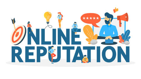Online reputation management concept. Building relationship with people and improving customer loyalty. Idea of rating and feedback. Flat vector illustration