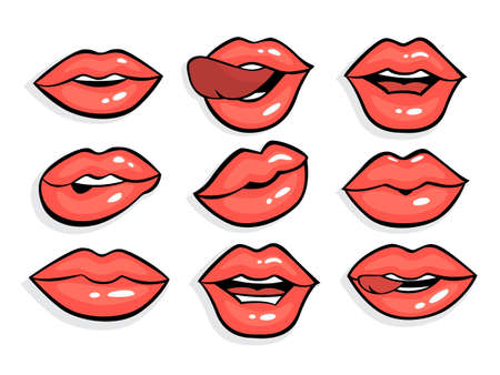 Set of sexy red pop art lips. 일러스트