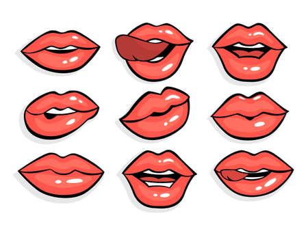 Set of sexy red pop art lips. Illustration
