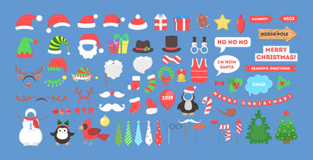 Big christmas party props for photobooth set. Collection of hat, mask and other decoration for fun. Flat vector illustration Illustration