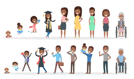 Male and female african american character generation set. Human in different ages from baby to old person. From young to elderly. Life cycle. Isolated flat vector illustration