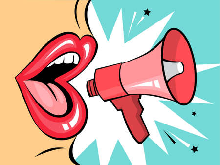Open mouth with speech bubble promote business