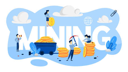 Cryptocurrency mining concept. People working with bitcoin piles around. Idea of blockchain and digital innovation. Flat vector illustration Ilustração