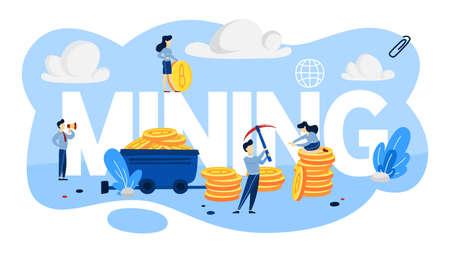 Cryptocurrency-Mining-Konzept. Leute, die mit Bitcoin-Haufen arbeiten. Idee von Blockchain und digitaler Innovation. Flache Vektorillustration