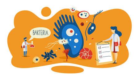 Bakterienkonzept. Bereich Medizin und Mikrobiologie. Mikroskopischer Organismus. Kleines gutes und schlechtes Bakterium in der Flora. Flache Vektorillustration