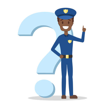 Male african american policeman in blue uniform standing at the big question mark and smiling. Police officer asking a question. Isolated flat vector illustration